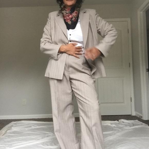 Women's pinstripe wide leg suit